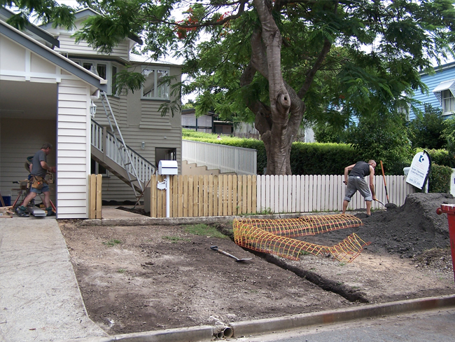 front yard earthworks and turfing